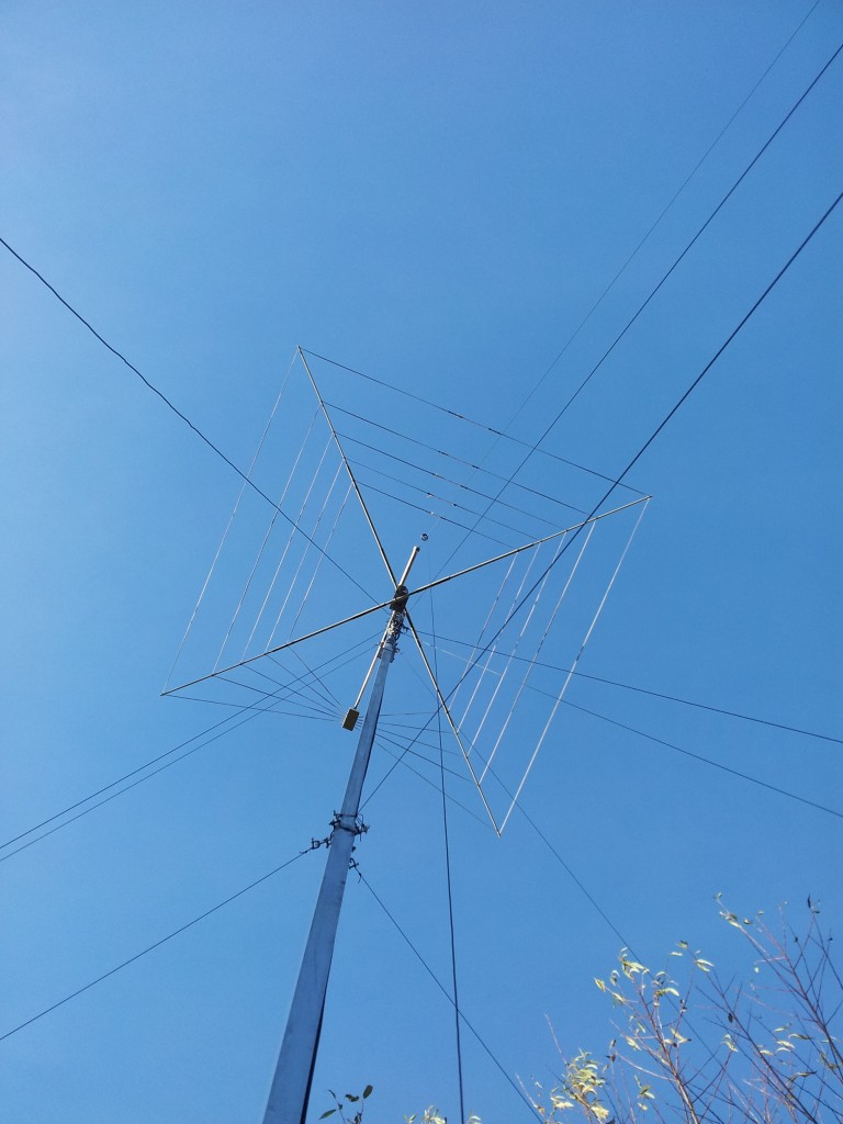 The HF antennas from below