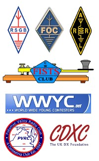 Club Logos of RSGB, FOC, ARRL, FISTS, WWYC, PVRC and CDXC